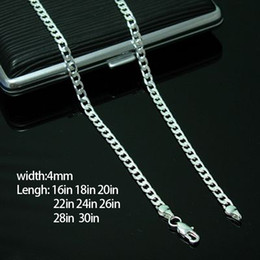 Wholesale 26inch Chain - Figaro Chains Hot Sale 925 Sterling Silver Men Women Chain Necklaces Size 4MM 16inch 18inch 20inch 22inch 24inch 26inch 28imch 30inch