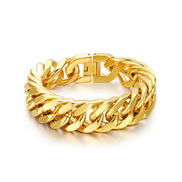 Wholesale Chunky Chain Link Bracelets - 24K Gold Bracelet Bangle Chunky Chain for Men Jewelry 316L Stainless Steel Punk Rock