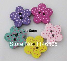 Wholesale Bulk Flowers For Crafts - 120pcs Natural good Wood Sewing Button 15mm Bulk botoes Flower snaps fasteners For Craft Kids Buttons scrapbooking product