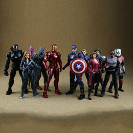 Wholesale Cartoon Super Heroes - 11 Styles 34.2cm Captain America Ironman Black Panther Avengers Model PVC Action Figure Super Hero Cartoon Collectable Toys CCA8409 24pcs