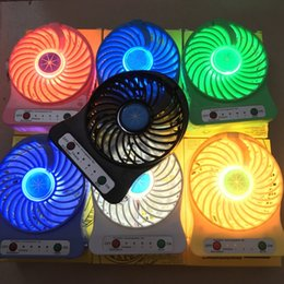 Wholesale Smallest Electric Fans - Handheld Mini Fan USB Charge LED Light Up Plastic Fanner Small Portable Resuable Fans High Quality 15xy B R
