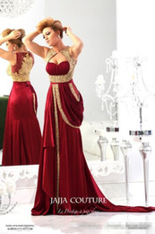 Wholesale Chiffon Embroidery Prom Dress - 2015 New Arrival jajja-couture Red Evening Dresses Sweetheart Chiffon Runway Vintage Gold Embroidery Crystals Prom Dresses Evening Gowns