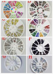 Rodas quentes arte on-line-Atacado Hot 10 Estilos Nail Art Tips Decoração De Cristal Brilho A B Rhinestone Ferramentas Prego Com Roda