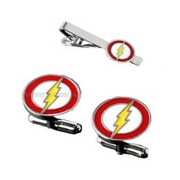 Logotipo do flash do navio on-line-Logotipo do super-herói de flash de prata tom esmalte botão de punho e conjuntos de gravata clipe para camisa melhor presente moda jóias frete grátis W385