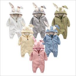 Wholesale Red Rabbit Cartoon - Baby Clothes Rabbit Ears Rompers Toddler Zipper Rompers Newborn Onesies Winter Cartoon Jumpsuits Kids Cotton Bodysuits Fashion Overalls 3620