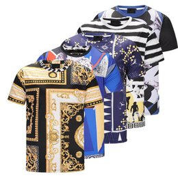 Wholesale Men High Collar T Shirt - HOT SELLING European New Men's Short-sleeved Pullover T-shirt, High Definition 3D Floral Print Trend Casual Round Collar Shirt