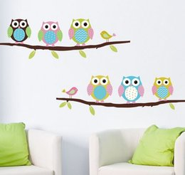 Wholesale Owl Decorations For Baby Nursery - Wall Sticker home decor Children girl kids baby Room owl tiger Wall art Poster bedroom diy vinyl Stickers decal decoration