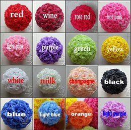 Wholesale Artificial Flower Ball Purple - 6Inch 15 CM Artificial Rose Silk Flower Kissing Balls Hanging Flowers Ball For Wedding Christmas Ornaments Party Decoration Supplies 16 colo