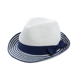Wholesale Wide Brim Tea Hats - Wholesale-Unisex Summer Straw Hats for Women Striped Tea Party Panama Hat Female Beach Sun Visor Cap Casual Jazz Caps High Quality