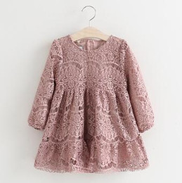 Wholesale Cotton Print Dress Baby - Girls Lace Dresses 2017 Spring Style Baby Girls Floral Embroidery Dress Kids Full Sleeve Tutu Dress Children Wholesale CLothing