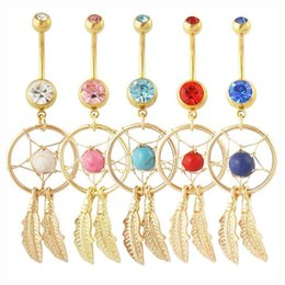 Wholesale Dream Catcher Body Jewelry - Crystal Gem Dream Catcher Dangle Belly Navel Barbell Button Ring 316L Stainless Steel Navel Body Piercing Jewelry