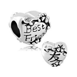 Wholesale Chinese Love Bracelet - Flower Charms Bracelets Heart Chinese Friendship Symbol Best Friend European Charm Spacer Metal Bead Fit Pandora Bracelet