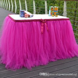 Wholesale Wholesale Chinese Baby Cloth - high quanlity tutu table skirt with bow for wedding decorations party birthday evening prom baby skirts whole sale DHL free shipping