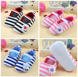 Wholesale Elastic Band Sandals - 10% OFF 5 pairs,11-13cm,Stripe flowers First Walkers Baby kids Toddler casual Shoes infant Spring Autumn brand Soft Sole sandal Girl ShoesJL