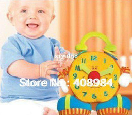 Wholesale Teddy Smiling - free shipping baby educational plush toy colorful smiling big ben activity clock toy