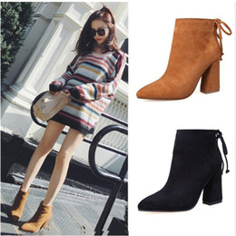 Wholesale Tan Heels For Women - Hot selling leather thick heels ankle boots for woman fashion sexy pointed toe short boots 2017 high heel boots black