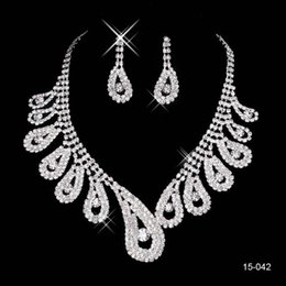 Wholesale Bridal Wedding Dress Rhinestone - 2016 New Jewelry Necklace Earring Set Cheap Wedding Bridal Prom Cocktail Evening Dresses Rhinestone 15-042 In Stock Free Shipping