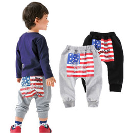 american flags pants wholesale Promo Codes - INS Spring Winter kids Boys American flag Harem Pants AB star stripe Flags Pant trousers Baby Spring Long leggings Harem Pants Cool