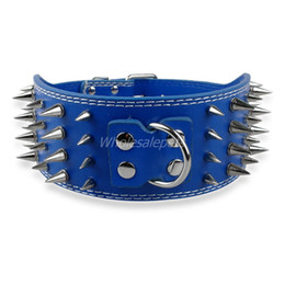 Wholesale Pitbull Leather Dog Collars - Wholesale-3 inch Wide Spikes Leather Pet Dog Collar for Large Breeds Pitbull Doberman M L XL