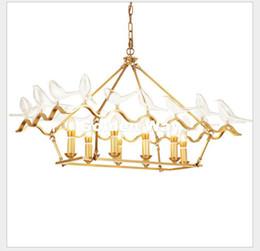 Wholesale Vintage Bird Lamp - Nordic Copper LED Pendant Lighting Brass Modern Glass Bird 8 Heads Pendant E14 Lamp Suspension Light Home Decoration 110V~220V