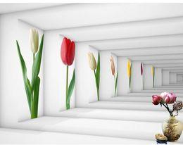 Wholesale Lotus Paper Wallpaper - Custom photo wallpaper 3D European Tulip-shaped back door lotus retro sofa backdrop 3d wallpaper 3d mural wallpaper 20157391