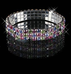 Wholesale Color Stones Jewelry - 2015 Cheap In Stock Multi-color Rhinestone 3 Row Stretch Bangle Prom Evening Wedding Party Jewelry Bracelet Bridal Accessories 15-012