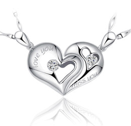 Wholesale Jewellery For Lovers - 925 Sterling Silver Heart Pendants Solitaire Korean Lovers Men Women Jewellery Accessories Charms for Pendant Necklace Made Without Chain