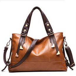 Wholesale Waxed Nylon - 2015 Hot European American style Oil wax Genuine Leather Cowhide Women handbags Fashion Women shoulder bags +13 Colors