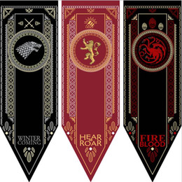 Wholesale Wholesale Soccer Flags - 100pcs House Stark Banner - Game of Thrones Wolf Tournament Outdoor Banner Flag 48*150 cm America USA Team Soccer College Baseball Flag