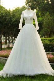 Wholesale Custom Dress Korea - Dreaming white Korea wedding dresses with long sleeves beaded crystal elegant A-Line bridal gown Princess wedding gowns