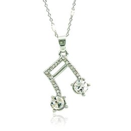 Wholesale notes necklace - Brand New Fashion Pendant Necklace Silver Plated White Rhinestone Music Note Necklace For Women Valentine's Gifts Jewelry