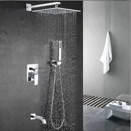 "Wholesale Handle Faucets - Wholesale And Retail Wall Mounted Rain Shower Faucet Set Vavle Mixer Tap Tub Spout W  Hand Shower Sprayer 8""   10""   12""  16"""