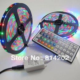 Wholesale Light Bulb Adapter Leds - RGB 3528 LED Strip Lights 10M (2 Rolls) Waterproof 300 leds SMD Bulbs Lamp + 44 KEYS IR remote + 2A power Adapter