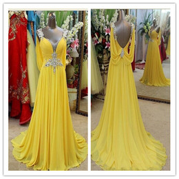 Wholesale Chiffon Sample - 2016 Evening Dresses Yellow Long Prom Dresses Formal 100% Sample V Neck Backless Sweep Train Crystal Junoesque Chiffon Evening Gown