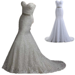 Wholesale Cheap Beaded Bridal Sashes - 2016 Full Lace Mermaid Wedding Dresses Cheap Sweetheart Pleats Crystal Beaded Sash Under 100 Lace Up Back Sexy Bridal Gowns In Stock