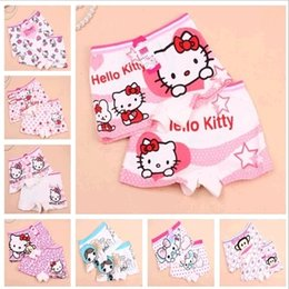 Wholesale Cartoon Boxers Shorts Wholesale - Cartoon Hello Kitty KT Cat Boxers Children's Underwear Printed Baby Girls Stripe Shorts Pants Fashion Kids Clothing for 1T-10T