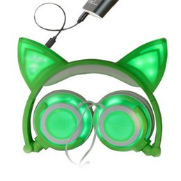 Симпатичные музыкальные наушники с наушниками Cat Ear Складные светящиеся гарнитуры Светящиеся мигающие наушники для мобильного телефона планшета Q00294 от Поставщики бить наушники