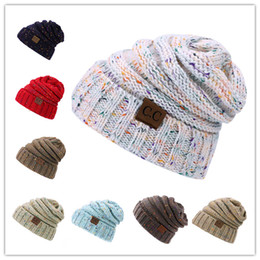 Wholesale Rainbow Acrylic - 2017 Winter warm Wool Knit Hats Autumn Fashion CC labeling slouchy Rainbow beanie Warm Thick skullies Casual Knitted Caps FedEx FREE