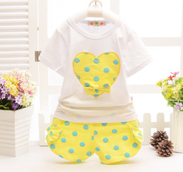 Wholesale Girls Summer Heart T Shirt - Summer kids fashion clothes suit T-shirt+short pants 2 pieces suit girls big heart-shaped clothes sets 100% cotton for 1~7Y good quality