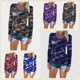 Wholesale long sleeved t shirts ladies - Women Long Sleeve Camouflage Tee Shirts Tops Camo T-Shirts Casual Blouse Tops Lady Loose T-Shirt LJJO3548