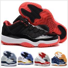 super popular 8b51b 153d5 2018 11 Hommes Chaussures de basket-ball 2017 Concord 11s Sport Sneaker  Basse Métallisé Or Bleu marine Blanc Rouge Bred 8 Couleurs Taille US 7-12