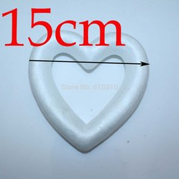 Wholesale Wholesale Heart Styrofoam - Wholesale-Freeshiping wholesale 15cm semi-finished 3d styrofoam product heart diy painted wedding decoration valentine's day (24pcs lot)