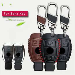 Wholesale Key Case Cover Leather - Genuine Leather Men Car Key Bag Case Cover Key Holder Chain For Mercedes Benz Accessories