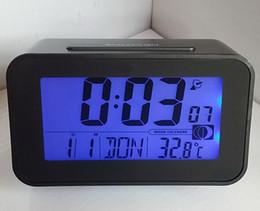 Wholesale Digital Clock Radios - DCF Radio Controlled Clock Digital Bedside Table Desktop Calendar Wake Up Alarm Clock With Thermometer Temperature&Humidity+LED Backlight