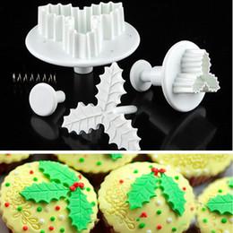 Wholesale Plastic Moulding Supplies - 2Pcs Set Leaf Cake Cookie Cutters Mould Sugarcraft Fondant Decorating Plunger Bakeware Baking Tools Christmas Kitchen Supplies