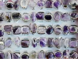 Wholesale Natural Amethyst Gemstone Rings - Rings wholesale lots jewelry Resale Charm Natural Amethyst Stone gemstone Silver Tone wedding Rings 25pcs lot