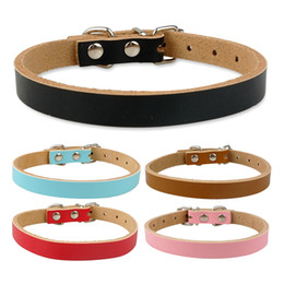 Wholesale Dog Collars Plain Leather - (5 Colors 4 Sizes )Brand New Plain Leather Dog Collars 100% Quality Guarantee