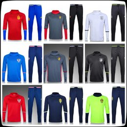 Wholesale Spanish Suit - Best quality Belgian Spanish Russian Swedish training suit 2018 Russian World Cup national team soccer sport thin pants free delivery