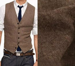 Wholesale Thin Wedding Dresses - 2018 Vintage Brown Tweed Vest Wool Herringbone Groom Vests Mens Suit Vests Slim Fit Mens Dress Vest Custom Wedding Waistcoat