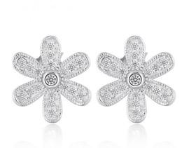 Lilienkristall online-925 Sterling Silber Ohrstecker Modeschmuck Lily Blume Zirkonia Diamant Kristall Eleganten Stil Ohrring für Frauen Mädchen 100 stücke